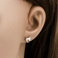Zlati uhani - simetrični srci v dveh odtenkih, zaponka v obliki čepka