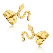 Uhani iz rumenega 14K zlata - bleščeča plazeča se kača, površina z zarezami