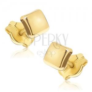 Zlati lesketajoči se uhani - bleščeča kvadrata z rahlo izbočeno površino