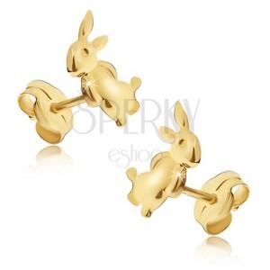 Uhani iz rumenega 14K zlata - zajec, ki stoji na zadnjih nogah