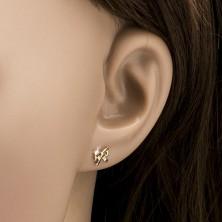 Zlati uhani s čepki - pentlji, sijoči kot ogledalo