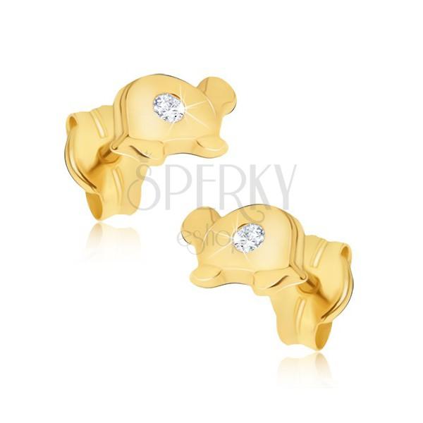 Zlati uhani - bleščeča želvica s prozornim kamnom na oklepu