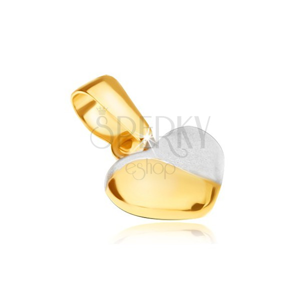 Obesek iz rumenega 14K zlata - pravilno izbočeno srce, dvobarvno