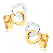 Zlati uhani - lesketajoči se simetrični luknjasti srci v dveh odtenkih