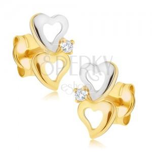 Zlati uhani v dveh odtenkih - konturi nepravilno oblikovanih src, majhen cirkon