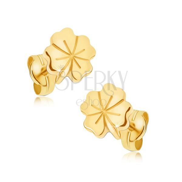 Bleščeči zlati uhani - deteljica za srečo, dekorativne zareze