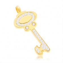 Obesek iz kirurškega jekla – ključ zlate barve s prozornimi cirkoni