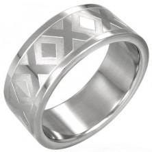 Poročni prstan iz nerjavečega jekla z vzorcem X, 8 mm