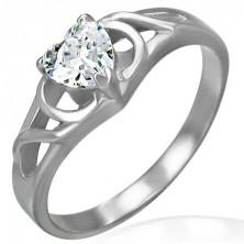Zaročni prstan z vozlom in srčastim cirkonom