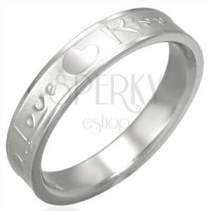 Jekleni prstan srebrne barve, mat sredina in sijoči robovi, Love & Kiss