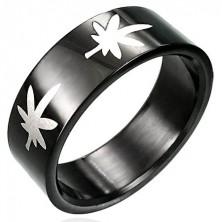 Črn prstan iz nerjavečega jekla z marihuano