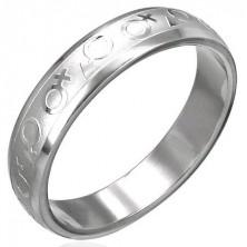 Prstan iz nerjavečega jekla s simboli za moški in ženski spol