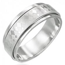 Vrtljiv prstan iz nerjavečega jekla z velikim in majhnim karo vzorcem