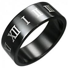 Črn prstan iz nerjavečega jekla z rjavimi rimskimi številkami