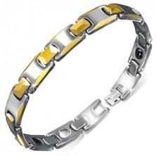 Magnetna zapestnica iz volframa, členi zlate barve s prirezanimi robovi