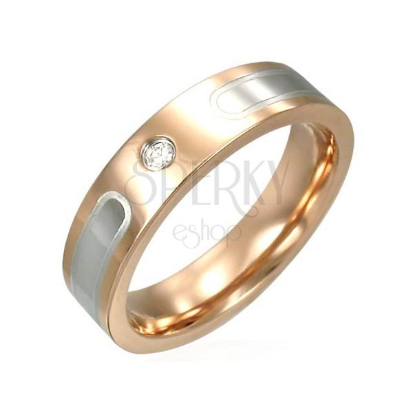 Prstan iz nerjavečega jekla bakrene barve s srebrnimi linijami
