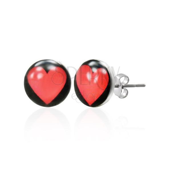 Jekleni vtični uhani - srce s črnim ozadjem