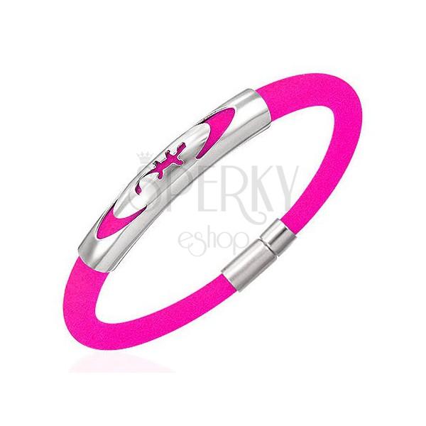 Zapestnica iz gume - kuščar v elipsi, roza