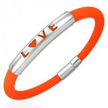 Oranžna silikonska zapestnica - LOVE