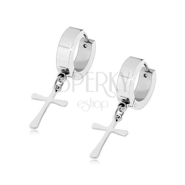 Jekleni uhani srebrne barve z visečim križem, zgibna zaponka
