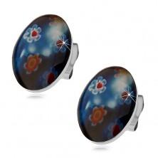 Vtični jekleni uhani, moder oval z barvnimi cvetovi