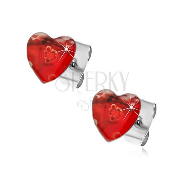 Uhani iz nerjavečega jekla - srci z raztegnjenimi cvetlicami