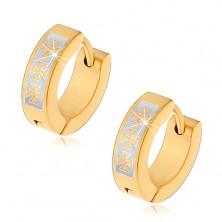 Zgibni obročasti uhani iz kirurškega jekla zlate barve, malteški križ