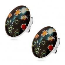 Uhani iz jekla 316 L, črn oval z barvnimi cvetovi, metuljčki