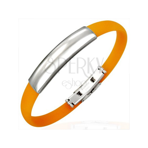 Oranžna gumijasta zapestnica - gladka ploščica