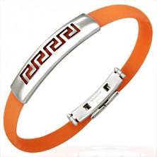Silikonska zapestnica - grški simbol, oranžna