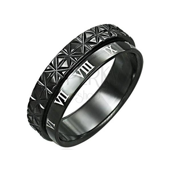 Dvojni prstan iz nerjavečega jekla - rimske številke