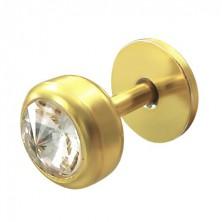 Zlat podustnični piercing s cirkonom