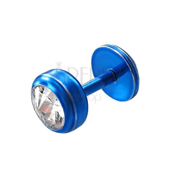 Podustnični piercing iz jekla v modri barvi - okrogel, prozoren cirkono