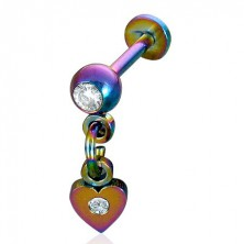 Podustnični piercing iz anodiziranega jekla z visečim srcem