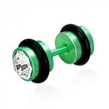 Imitacija piercinga v zeleni barvi - brušeni, prozorni cirkoni, gumjasta obročka