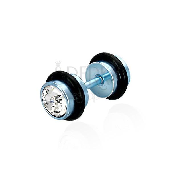 Imitacija piercinga v modri barvi - prozorni brušeni cirkoni, črn gumjast obroček.