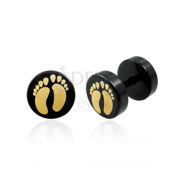 Imitacija piercinga z dvema stopaloma v črni barvi - par