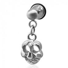 Imitacija piercinga z obeskom v obliki lobanje