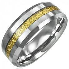 Volframov prstan z vzorčastim pasom zlate barve, 8 mm