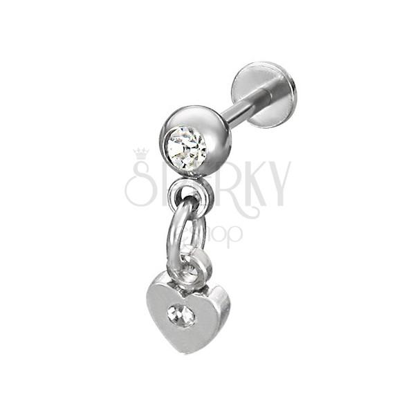 Podustnični piercing z visečim srcem v srebrni barvi