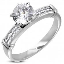 Zaročni prstan z velikim vdelanim kamenčkom, 6 kamenčkov v oglatem sprednjem delu