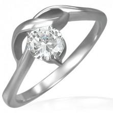 Zaročni prstan z okroglim cirkonom in nežnimi valovi