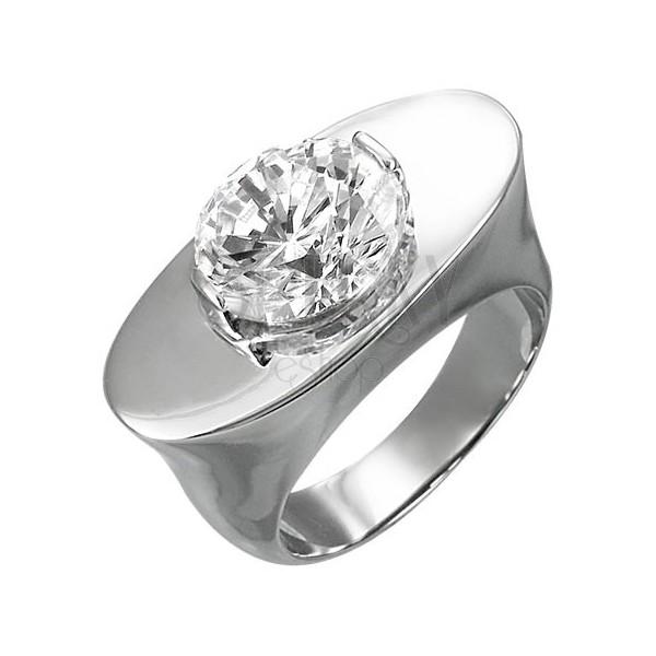 Masiven jeklen prstan - oval s kamenčkom