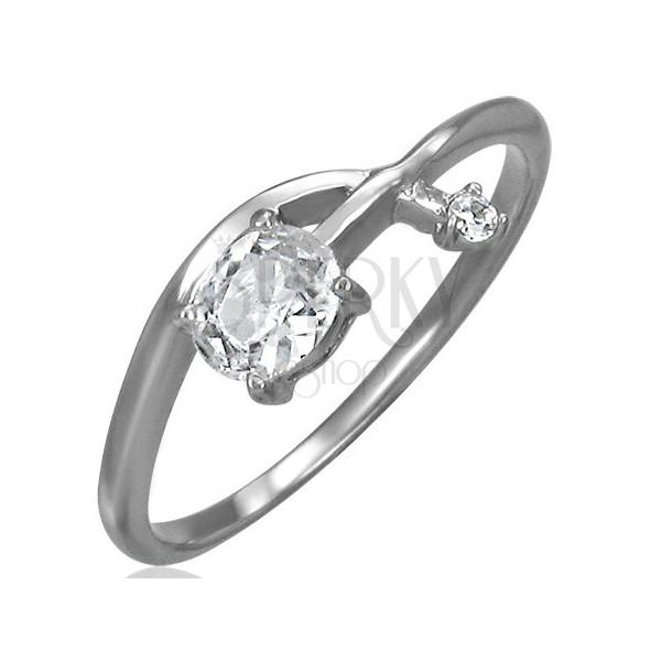Zaročni prstan - prepletena puščica s kamenčkom