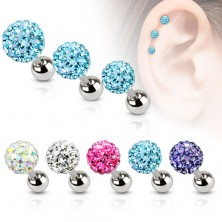 Jeklen piercing za uho, barvna cirkonska kroglica, 5 mm