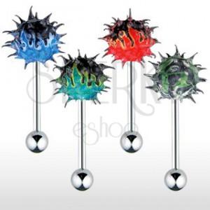 Piercing za jezik, barven ognjen silikonski ježek