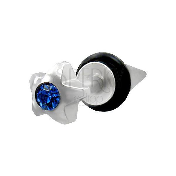 Imitacija piercinga - zvezda z modrim okrasnim kamnom