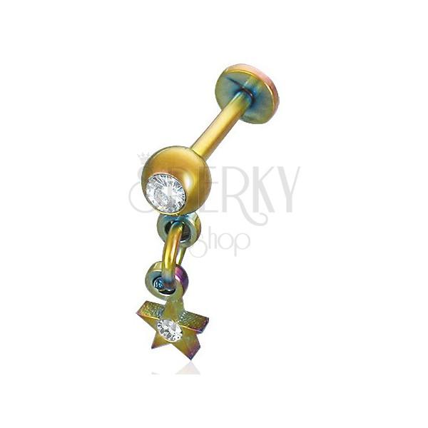 Anodiziran podustnični piercing z visečo zvezdo