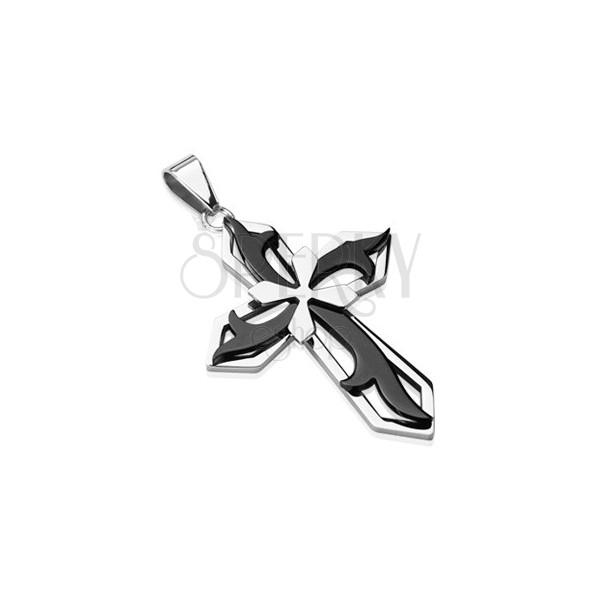 Obesek iz kirurškega jekla - križ črne in srebrne barve