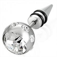 Imitacija piercinga v srebrni barvi z veliko kroglico s cirkoni, konica s črnimi obročki iz gume